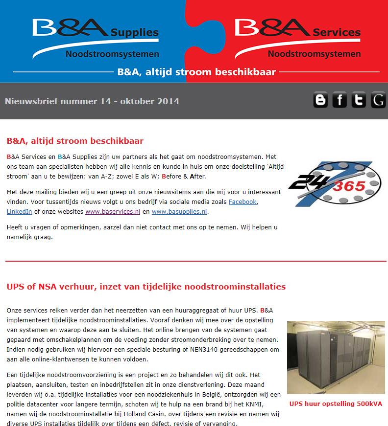 B&A - Onderhoudsbedrijf in noodstroomsystemen